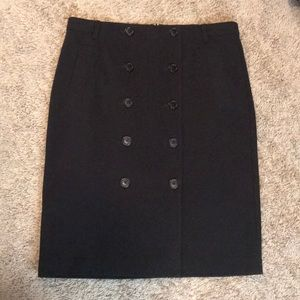 Classic double-breasted button pencil skirt